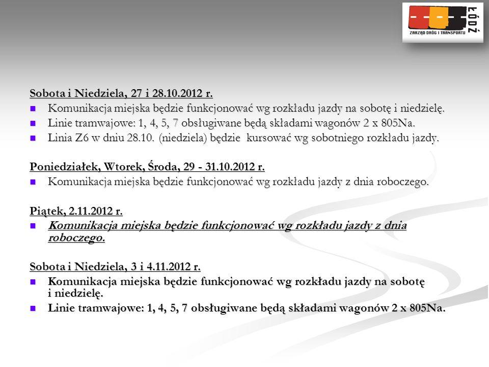 Sobota i Niedziela, 27 i 28.10.2012 r. Komunikacja miejska będzie funkcjonować wg rozkładu jazdy na sobotę i niedzielę. Komunikacja miejska będzie fun