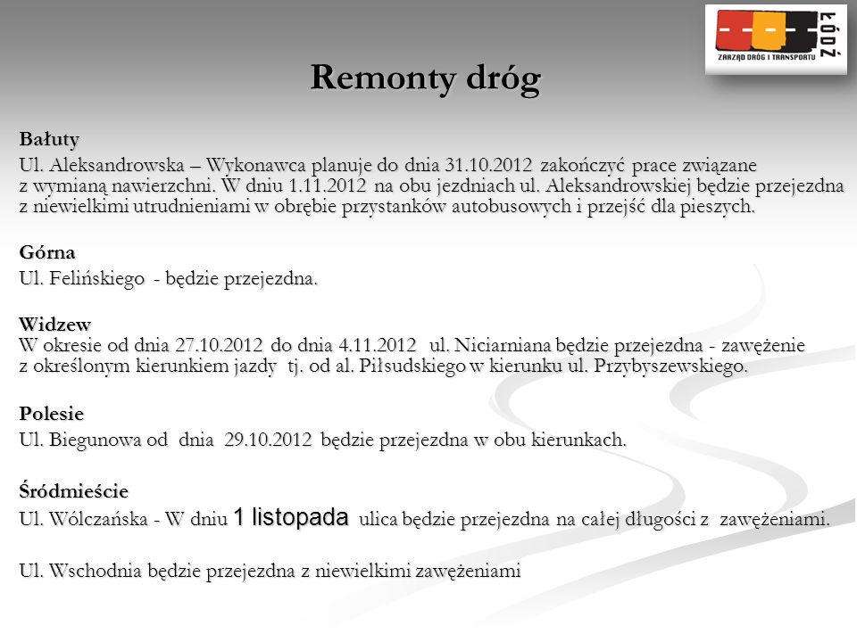 Remonty dróg Bałuty Ul. Aleksandrowska – Wykonawca planuje do dnia 31.10.2012 zakończyć prace związane z wymianą nawierzchni. W dniu 1.11.2012 na obu