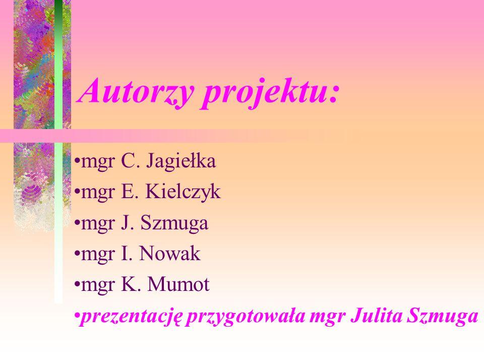 Autorzy projektu: mgr C. Jagiełka mgr E. Kielczyk mgr J. Szmuga mgr I. Nowak mgr K. Mumot prezentację przygotowała mgr Julita Szmuga