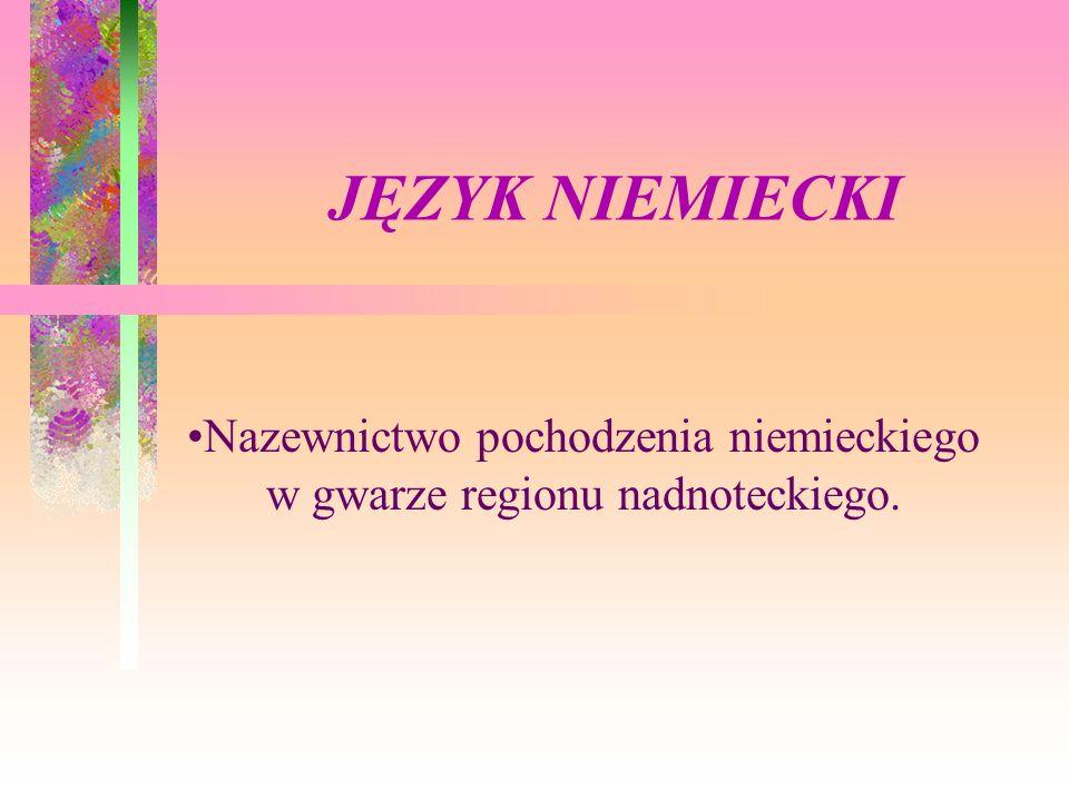JĘZYK NIEMIECKI Nazewnictwo pochodzenia niemieckiego w gwarze regionu nadnoteckiego.