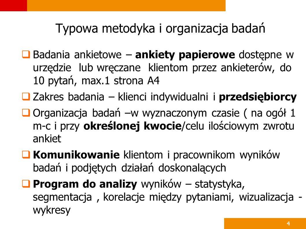 4 Typowa metodyka i organizacja badań Badania ankietowe – ankiety papierowe dostępne w urzędzie lub wręczane klientom przez ankieterów, do 10 pytań, m