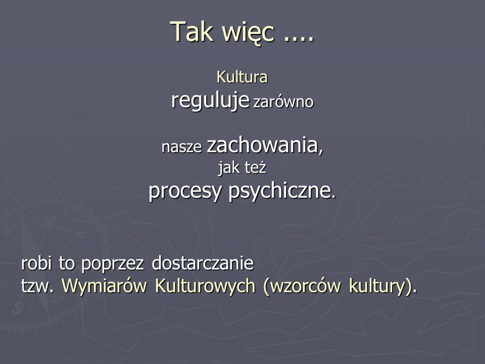 Tak więc.... Kultura reguluje zarówno nasze zachowania, jak też procesy psychiczne. robi to poprzez dostarczanie tzw. Wymiarów Kulturowych (wzorców ku