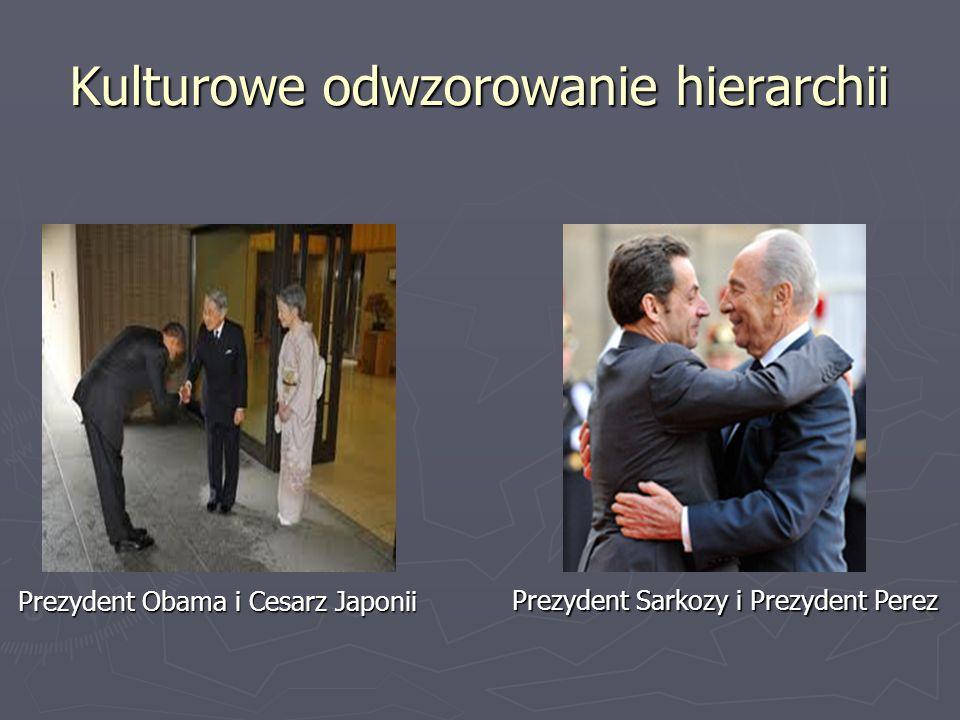 Kulturowe odwzorowanie hierarchii Prezydent Obama i Cesarz Japonii Prezydent Obama i Cesarz Japonii Prezydent Sarkozy i Prezydent Perez