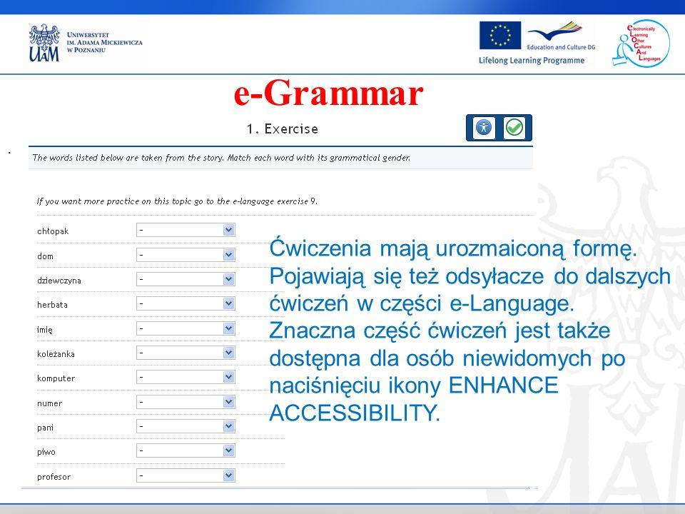 e-Grammar Ćwiczenia mają urozmaiconą formę.