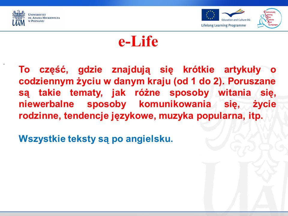 To część, gdzie znajdują się krótkie artykuły o codziennym życiu w danym kraju (od 1 do 2).
