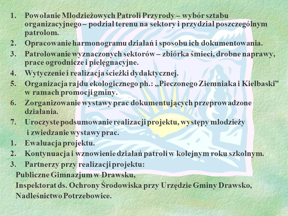 Zasięg geograficzny projektu: Projekt realizowany będzie na terenie gminy Drawsko, położonej w zachodniej części województwa wielkopolskiego, w widłach rzeki Noteci i Warty.