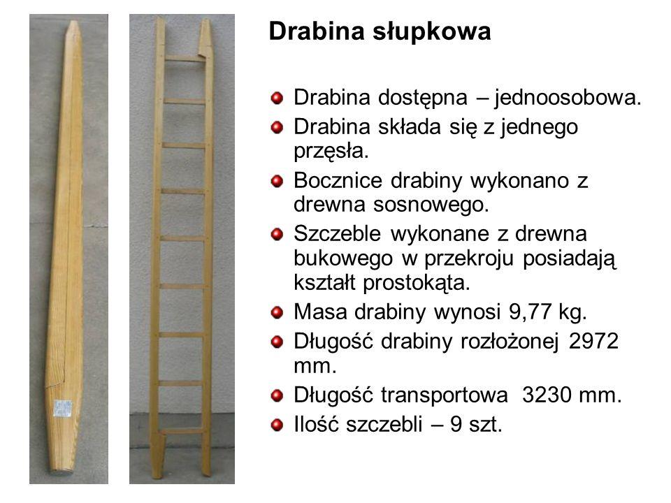 Drabina słupkowa Drabina dostępna – jednoosobowa.Drabina składa się z jednego przęsła.