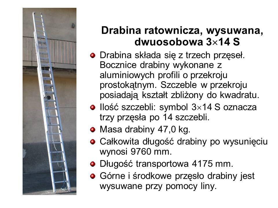 Drabina ratownicza, wysuwana, dwuosobowa 3 14 S Drabina składa się z trzech przęseł.