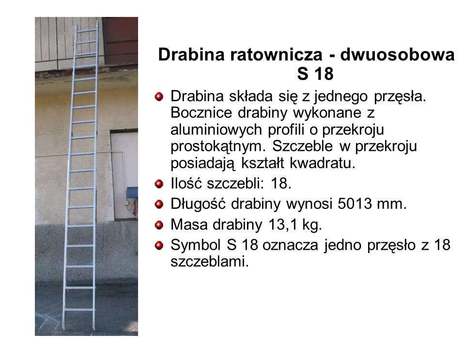 Drabina ratownicza - dwuosobowa S 18 Drabina składa się z jednego przęsła.