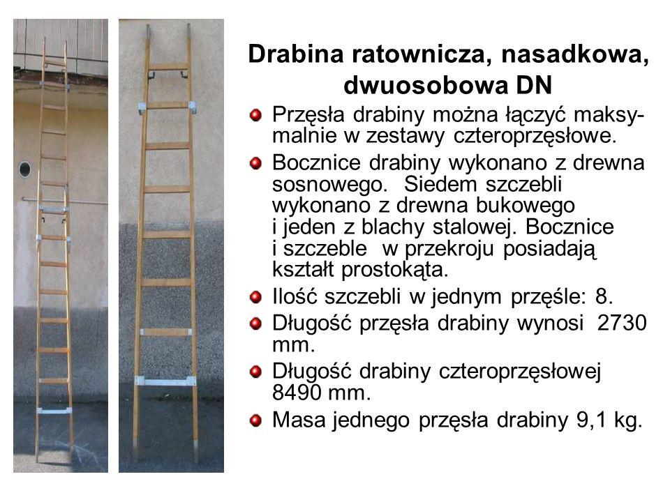 Drabina ratownicza, nasadkowa, dwuosobowa DN Przęsła drabiny można łączyć maksy- malnie w zestawy czteroprzęsłowe.