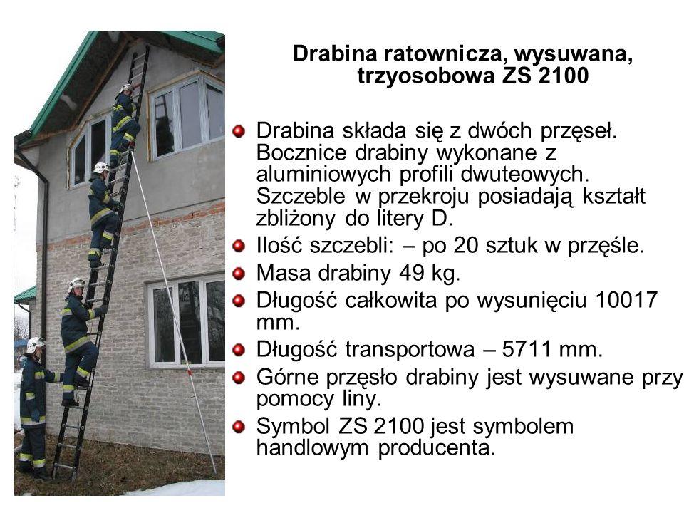Drabina ratownicza, wysuwana, trzyosobowa ZS 2100 Drabina składa się z dwóch przęseł.