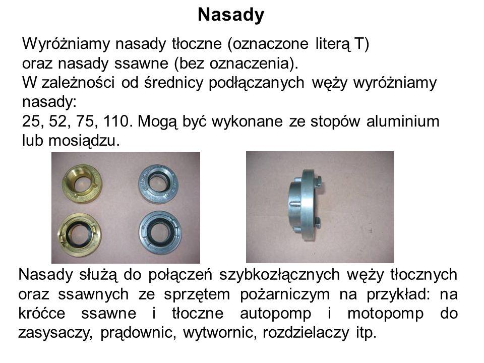 Wyróżniamy nasady tłoczne (oznaczone literą T) oraz nasady ssawne (bez oznaczenia).