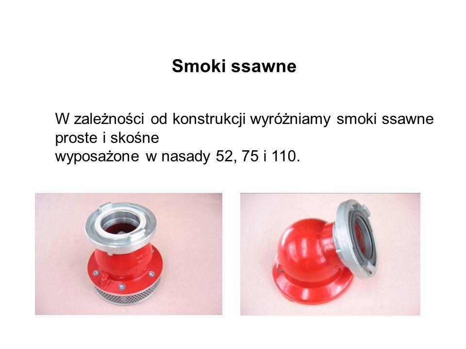 W zależności od konstrukcji wyróżniamy smoki ssawne proste i skośne wyposażone w nasady 52, 75 i 110.
