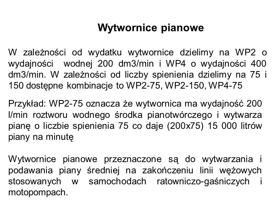 Wytwornice pianowe W zależności od wydatku wytwornice dzielimy na WP2 o wydajności wodnej 200 dm3/min i WP4 o wydajności 400 dm3/min.