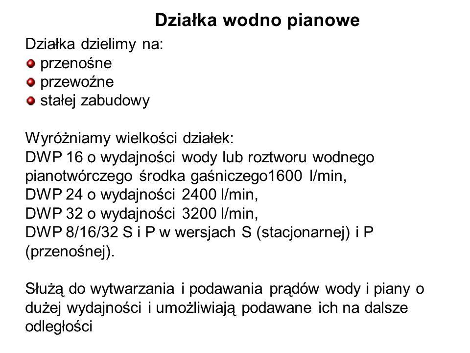 Działka wodno pianowe Działka dzielimy na: przenośne przewoźne stałej zabudowy Wyróżniamy wielkości działek: DWP 16 o wydajności wody lub roztworu wodnego pianotwórczego środka gaśniczego1600 l/min, DWP 24 o wydajności 2400 l/min, DWP 32 o wydajności 3200 l/min, DWP 8/16/32 S i P w wersjach S (stacjonarnej) i P (przenośnej).