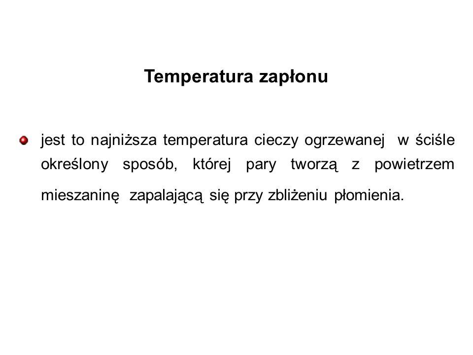 Temperatura zapłonu jest to najniższa temperatura cieczy ogrzewanej w ściśle określony sposób, której pary tworzą z powietrzem mieszaninę zapalającą się przy zbliżeniu płomienia.
