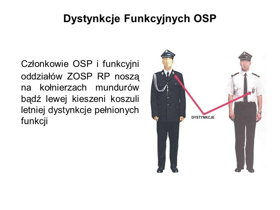 Dystynkcje Funkcyjnych OSP Członkowie OSP i funkcyjni oddziałów ZOSP RP noszą na kołnierzach mundurów bądź lewej kieszeni koszuli letniej dystynkcje pełnionych funkcji