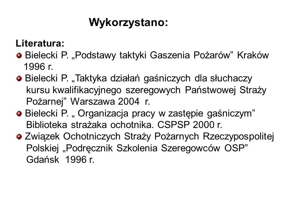 Wykorzystano: Literatura: Bielecki P.Podstawy taktyki Gaszenia Pożarów Kraków 1996 r.