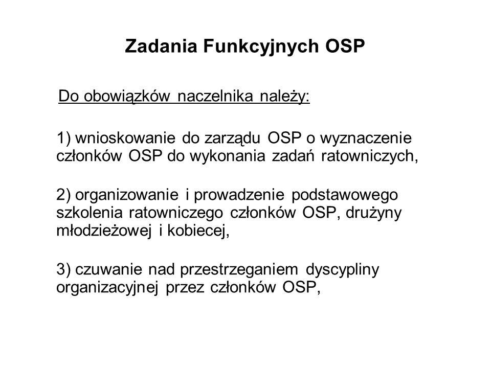 Zadania Funkcyjnych OSP Do obowiązków naczelnika należy: 1) wnioskowanie do zarządu OSP o wyznaczenie członków OSP do wykonania zadań ratowniczych, 2) organizowanie i prowadzenie podstawowego szkolenia ratowniczego członków OSP, drużyny młodzieżowej i kobiecej, 3) czuwanie nad przestrzeganiem dyscypliny organizacyjnej przez członków OSP,