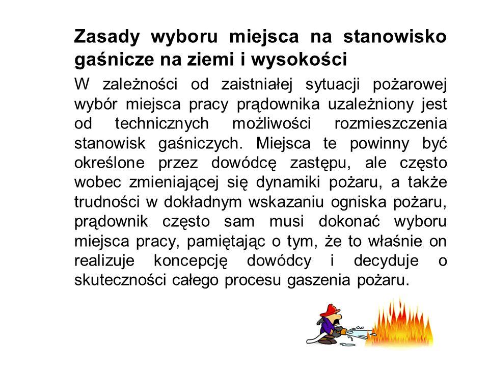 Zasady wyboru miejsca na stanowisko gaśnicze na ziemi i wysokości W zależności od zaistniałej sytuacji pożarowej wybór miejsca pracy prądownika uzależniony jest od technicznych możliwości rozmieszczenia stanowisk gaśniczych.