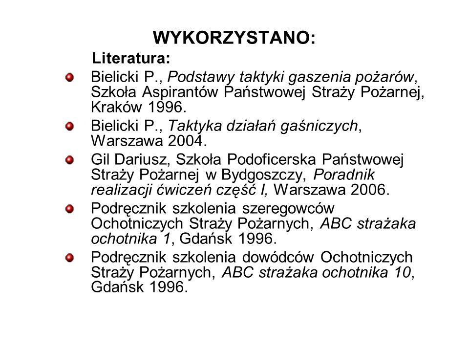 WYKORZYSTANO: Literatura: Bielicki P., Podstawy taktyki gaszenia pożarów, Szkoła Aspirantów Państwowej Straży Pożarnej, Kraków 1996.