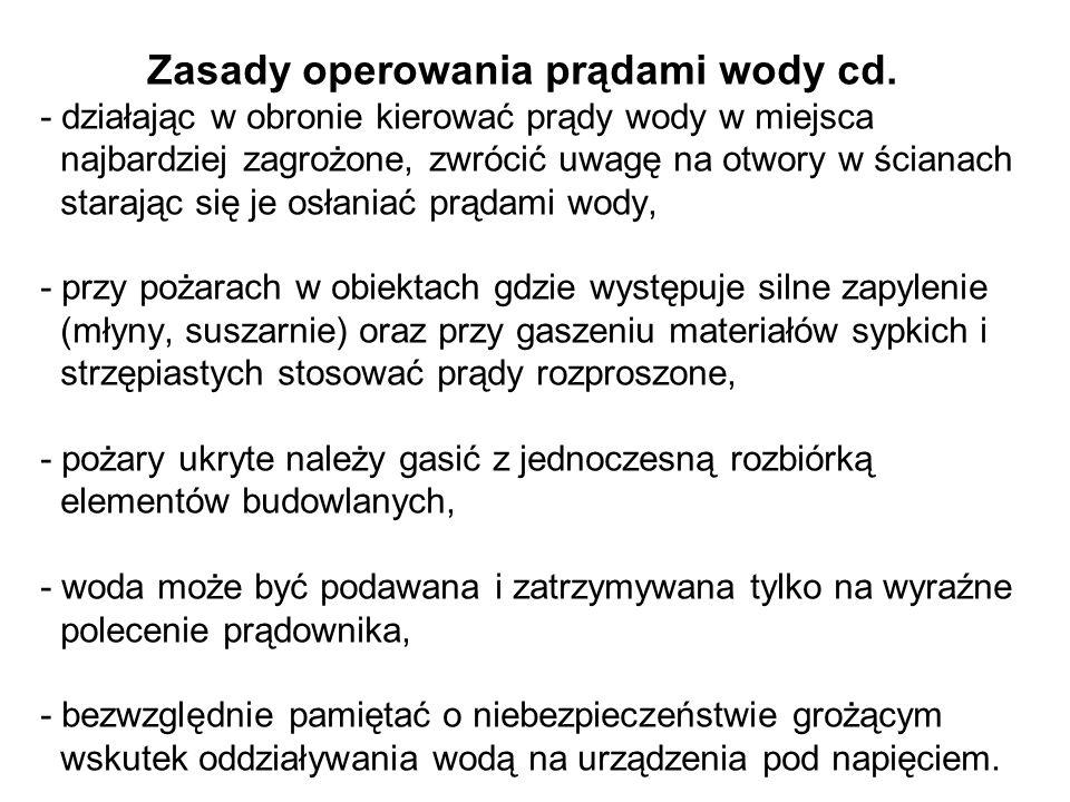 Zasady operowania prądami wody cd.