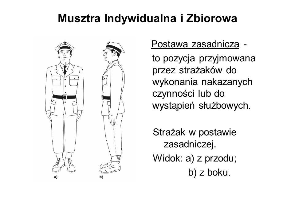 Musztra Indywidualna i Zbiorowa Postawa zasadnicza - to pozycja przyjmowana przez strażaków do wykonania nakazanych czynności lub do wystąpień służbowych.