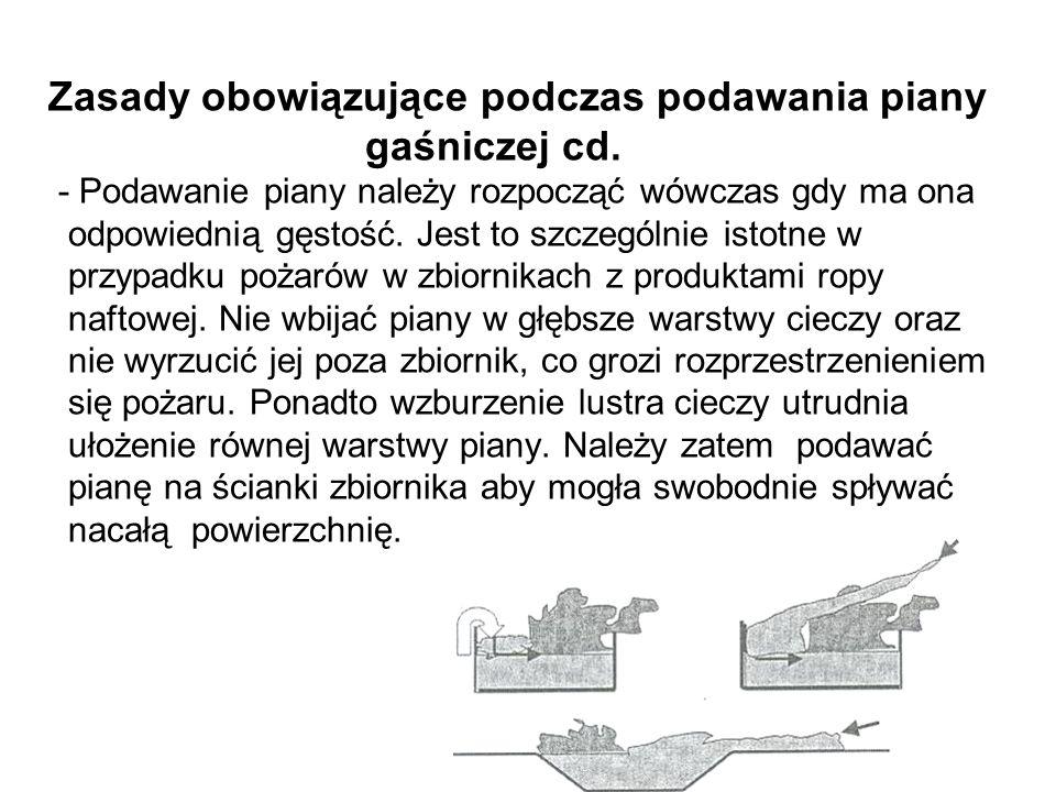 Zasady obowiązujące podczas podawania piany gaśniczej cd.
