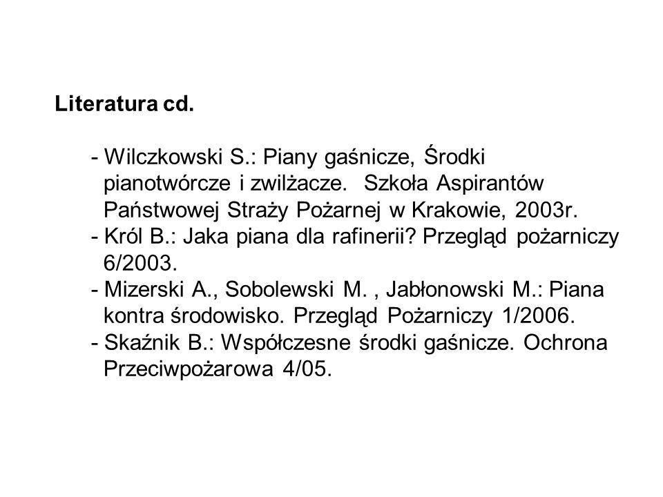 Literatura cd.- Wilczkowski S.: Piany gaśnicze, Środki pianotwórcze i zwilżacze.
