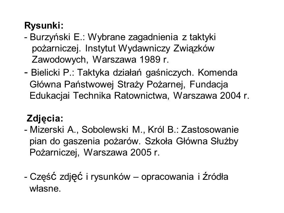 Rysunki: - Burzyński E.: Wybrane zagadnienia z taktyki pożarniczej.
