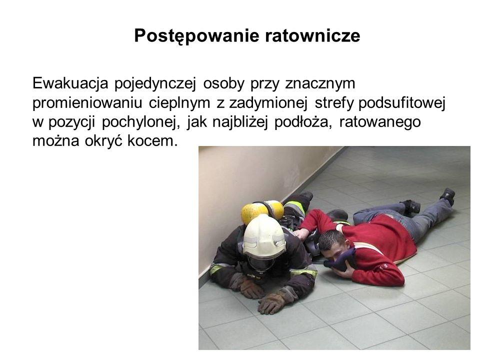 Postępowanie ratownicze Ewakuacja pojedynczej osoby przy znacznym promieniowaniu cieplnym z zadymionej strefy podsufitowej w pozycji pochylonej, jak najbliżej podłoża, ratowanego można okryć kocem.