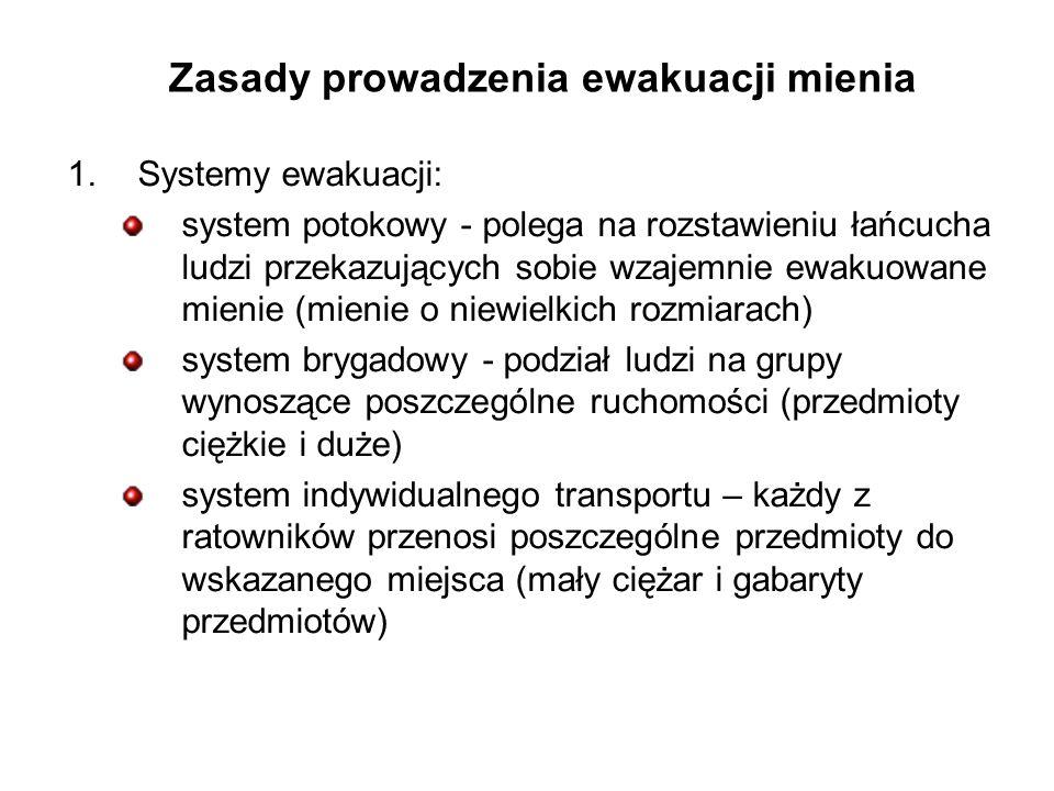 Zasady prowadzenia ewakuacji mienia 1.Systemy ewakuacji: system potokowy - polega na rozstawieniu łańcucha ludzi przekazujących sobie wzajemnie ewakuowane mienie (mienie o niewielkich rozmiarach) system brygadowy - podział ludzi na grupy wynoszące poszczególne ruchomości (przedmioty ciężkie i duże) system indywidualnego transportu – każdy z ratowników przenosi poszczególne przedmioty do wskazanego miejsca (mały ciężar i gabaryty przedmiotów)