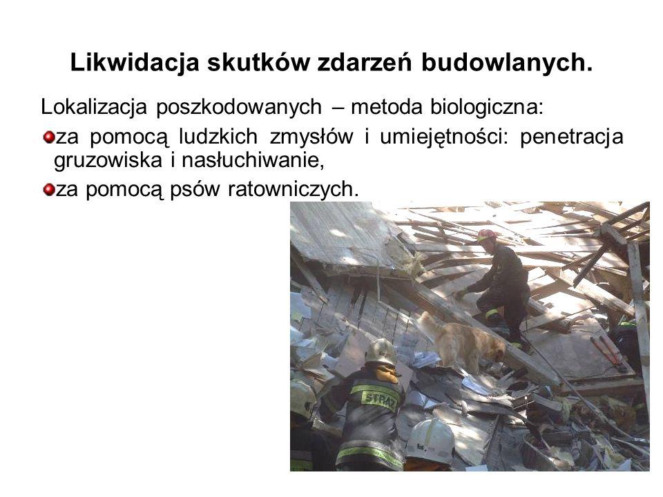 Lokalizacja poszkodowanych – metoda biologiczna: za pomocą ludzkich zmysłów i umiejętności: penetracja gruzowiska i nasłuchiwanie, za pomocą psów ratowniczych.
