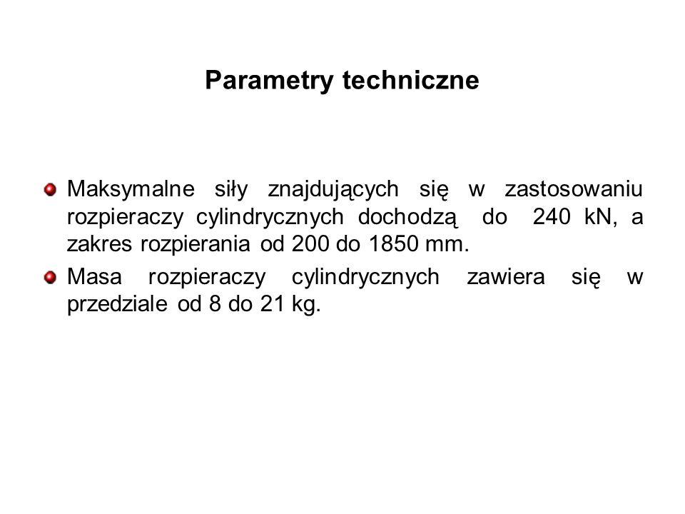 Parametry techniczne Maksymalne siły znajdujących się w zastosowaniu rozpieraczy cylindrycznych dochodzą do 240 kN, a zakres rozpierania od 200 do 1850 mm.