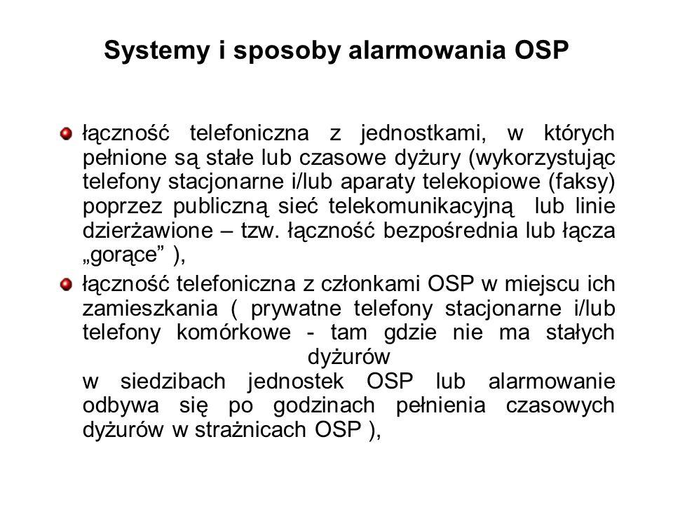 Systemy i sposoby alarmowania OSP łączność telefoniczna z jednostkami, w których pełnione są stałe lub czasowe dyżury (wykorzystując telefony stacjonarne i/lub aparaty telekopiowe (faksy) poprzez publiczną sieć telekomunikacyjną lub linie dzierżawione – tzw.