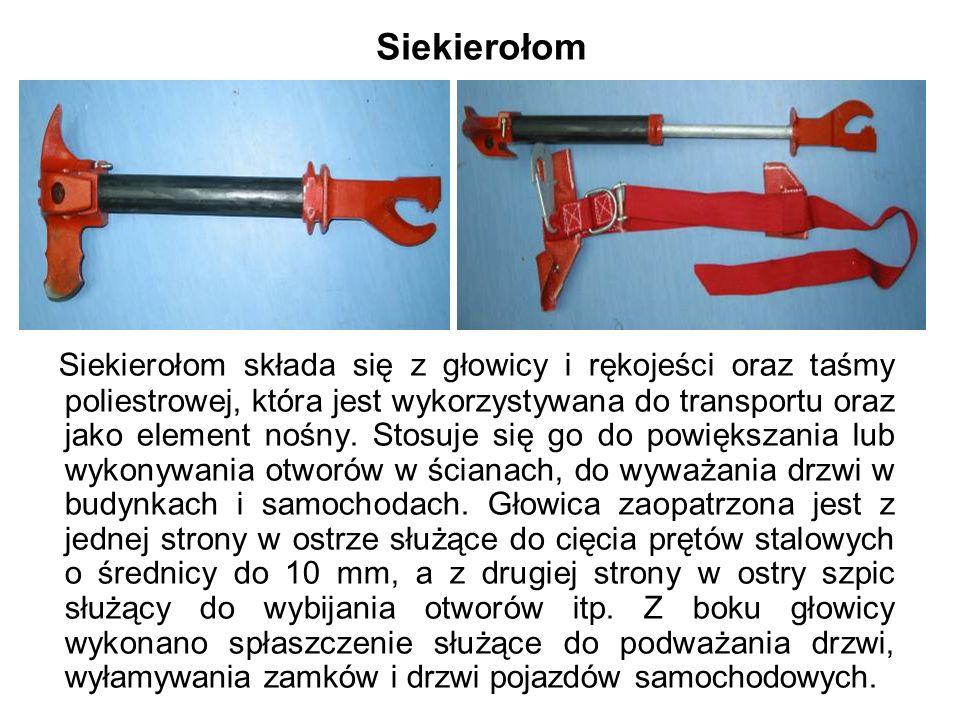 Siekierołom Siekierołom składa się z głowicy i rękojeści oraz taśmy poliestrowej, która jest wykorzystywana do transportu oraz jako element nośny.