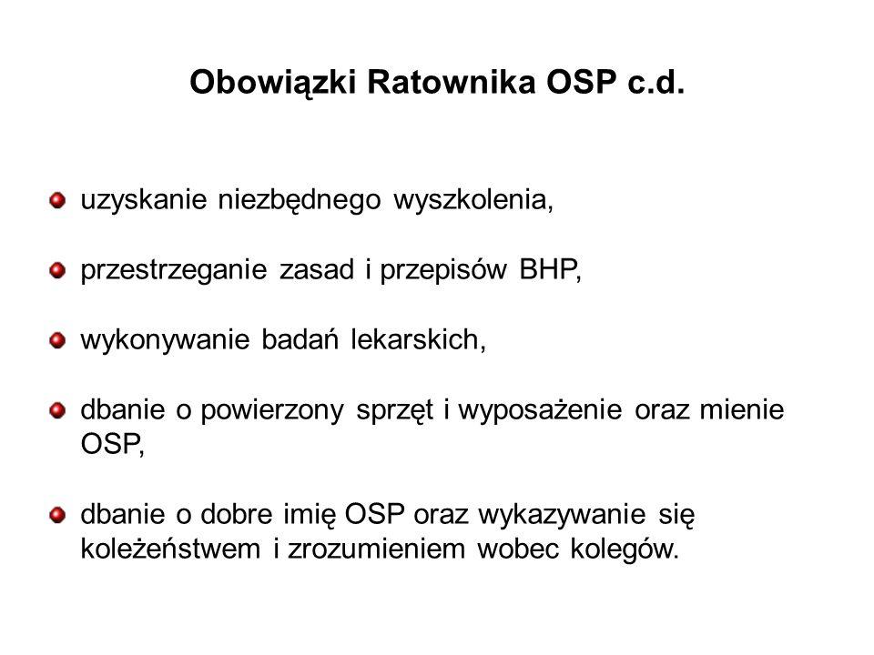 Obowiązki Ratownika OSP c.d.