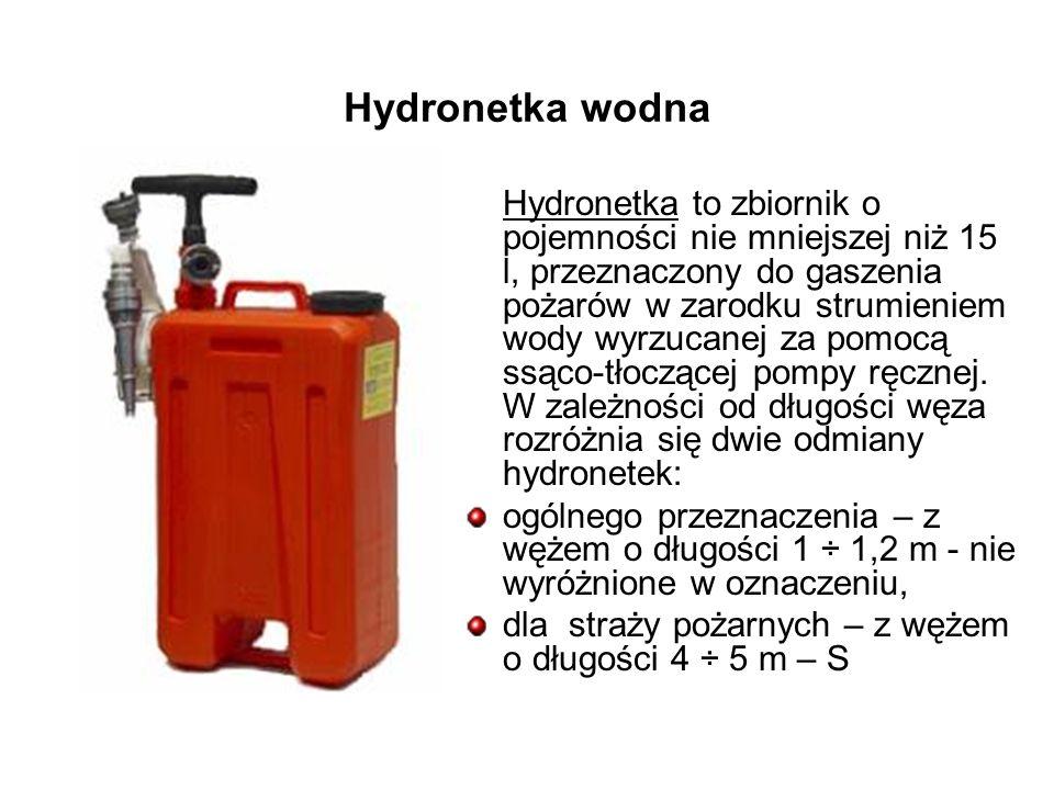 Hydronetka wodna Hydronetka to zbiornik o pojemności nie mniejszej niż 15 l, przeznaczony do gaszenia pożarów w zarodku strumieniem wody wyrzucanej za pomocą ssąco-tłoczącej pompy ręcznej.