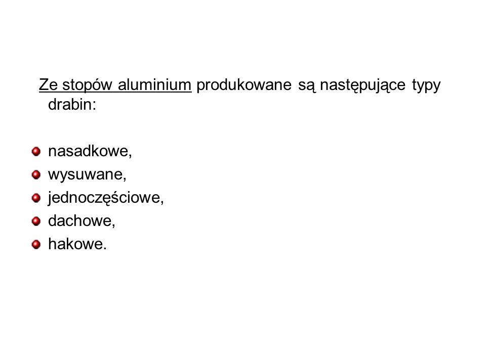 Ze stopów aluminium produkowane są następujące typy drabin: nasadkowe, wysuwane, jednoczęściowe, dachowe, hakowe.
