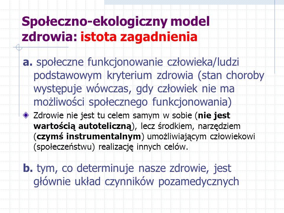 Społeczno-ekologiczny model zdrowia: istota zagadnienia a. społeczne funkcjonowanie człowieka/ludzi podstawowym kryterium zdrowia (stan choroby występ