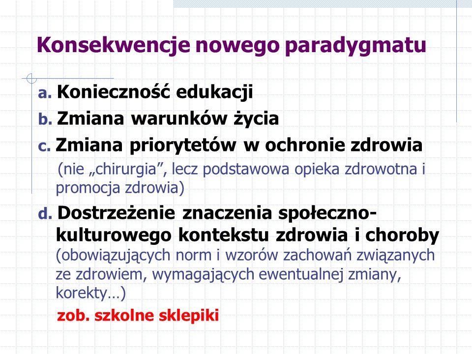 Konsekwencje nowego paradygmatu a. Konieczność edukacji b. Zmiana warunków życia c. Zmiana priorytetów w ochronie zdrowia (nie chirurgia, lecz podstaw