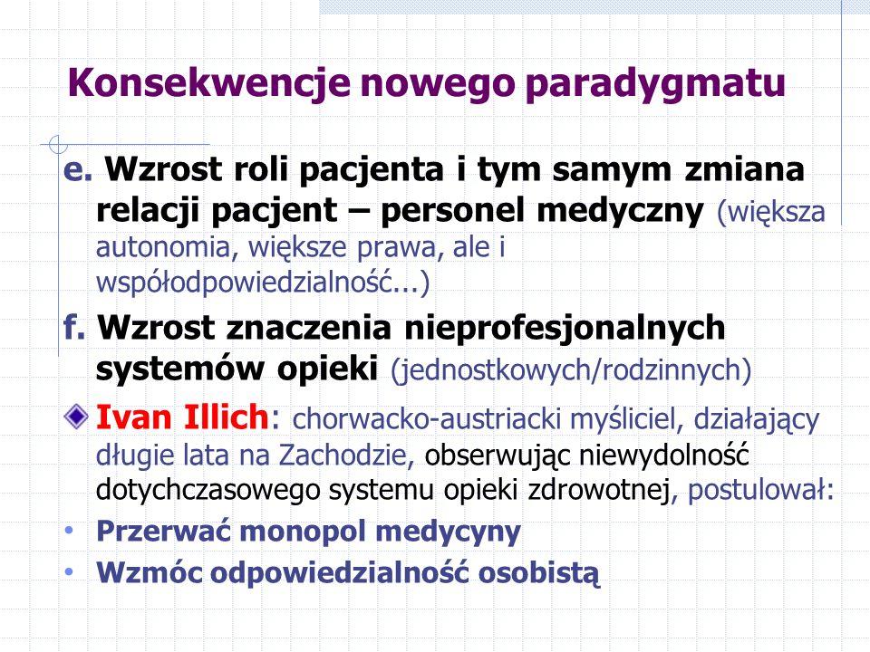 Konsekwencje nowego paradygmatu e. Wzrost roli pacjenta i tym samym zmiana relacji pacjent – personel medyczny (większa autonomia, większe prawa, ale