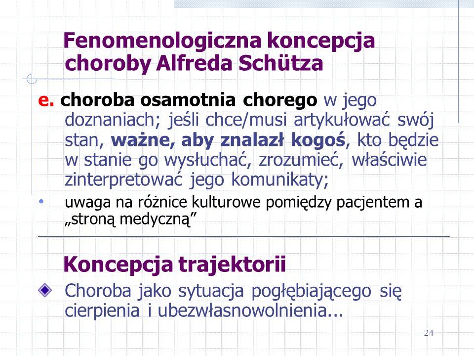 Fenomenologiczna koncepcja choroby Alfreda Schütza e. choroba osamotnia chorego w jego doznaniach; jeśli chce/musi artykułować swój stan, ważne, aby z
