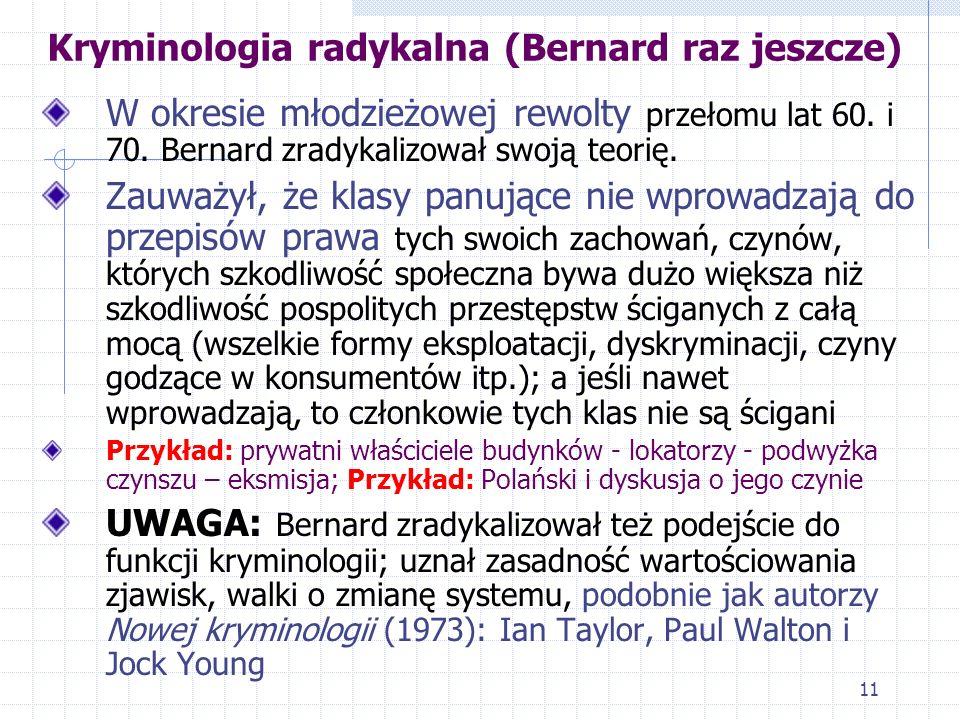 10 Kryminologia konfliktowa... W Polsce, w latach 80., warszawskie sądy dla nieletnich zajmowały się chłopcami wtedy, gdy naruszyli przepisy kodeksu k