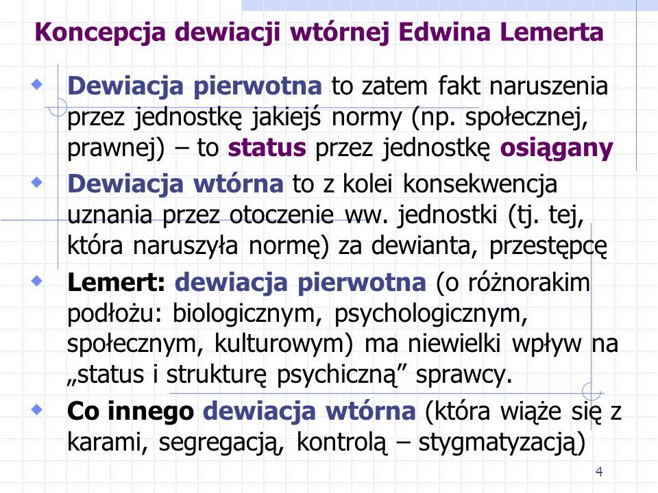 3 Koncepcja dewiacji wtórnej Edwina Lemerta Powstała w latach 50. XX w. Została oparta na pojęciu jaźni odzwierciedlonej autorstwa Charlesa Cooleya To