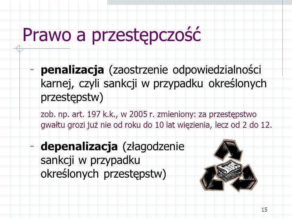 15 Prawo a przestępczość - penalizacja (zaostrzenie odpowiedzialności karnej, czyli sankcji w przypadku określonych przestępstw) zob. np. art. 197 k.k