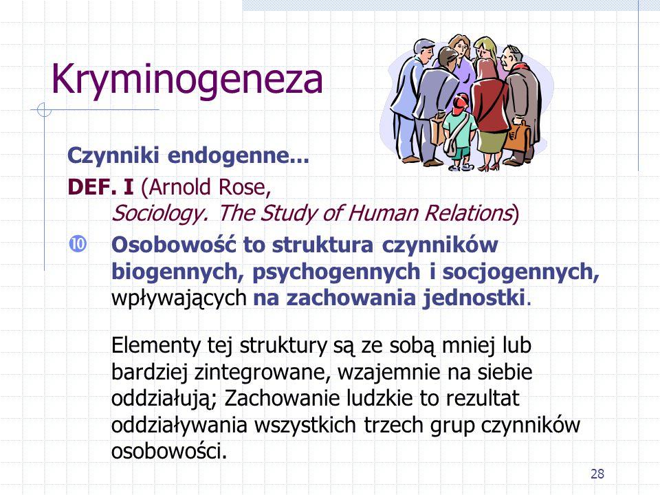 28 Kryminogeneza Czynniki endogenne... DEF. I (Arnold Rose, Sociology. The Study of Human Relations) Osobowość to struktura czynników biogennych, psyc