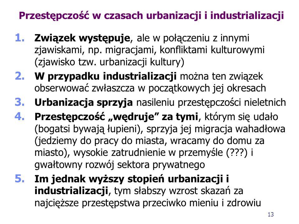 12 Zła sytuacja gospodarcza a przestępczość Przestępczość a inflacja 1. Gdy rośnie inflacja, ludzie unikają płacenia podatków (przestępczość podatkowa
