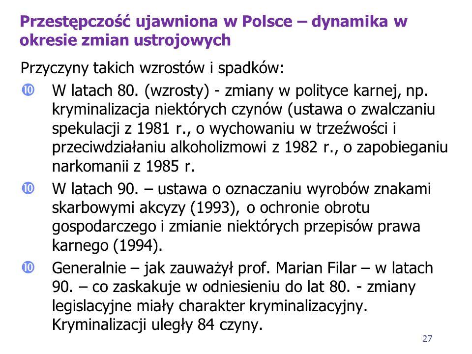 26 Przestępczość ujawniona w Polsce – dynamika w okresie zmian ustrojowych 1. Dane pochodzą z lat 70., 80. i 90. XX w. 2. W latach 70. przestępczość u