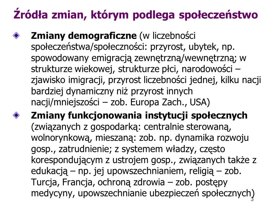 2 Pojęcie zmian społecznych Zmiana społeczna to, wg Piotra Sztompki (Socjologia, s. 453), różnica między stanem systemu społecznego (grupy, organizacj